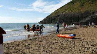 Man flown to hospital after 'tombstoning off 40ft cliff' at Mwnt Beach